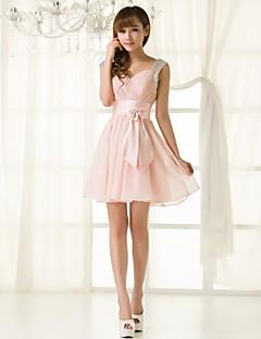 robe de demoiselle d'honneur de retour à court / mini chiffon une ligne de bretelles robe
