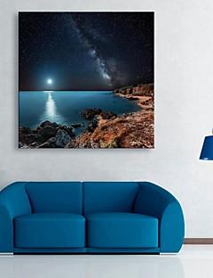 E-HOME® Stretched LED Canvas Print Art The Shore of The Night Flash Effect LED Flashing Optical Fiber Print