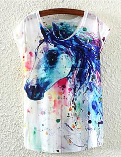 Γυναικεία T-shirt Λουλούδι Στρογγυλή Λαιμόκοψη Κοντομάνικο Βαμβάκι