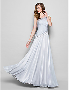 A-line Plus Size / Petite Mother of the Bride Dress Floor-length Sleeveless Chiffon withBeading / Bow(s) / Crystal Detailing / Side
