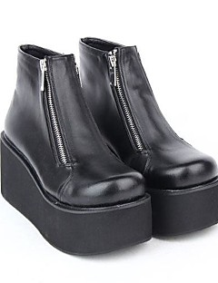 Black PU Leather 8CM Platform Sweet Lolita Shoes