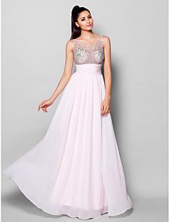 저녁 정장파티 드레스 - 블러슁 핑크 A라인 바닥 길이 스쿱 쉬폰