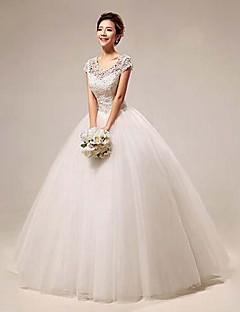Vestido de Noiva - Branco Baile U Profundo Comprido Renda