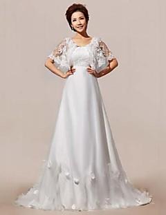 A-line Court Train Wedding Dress -Straps Lace