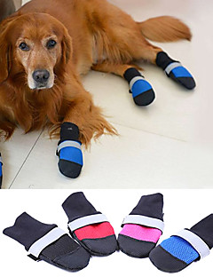 Dog Shoes & Boots Keep Warm Winter / Spring/Fall Solid Red / Blue / Black / Rose Fabric