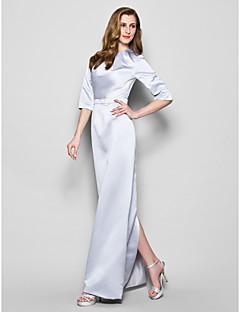Sheath/Column Mother of the Bride Dress - Silver Floor-length 3/4 Length Sleeve Satin