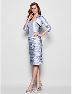 Lanting Sheath/Column Plus Sizes / Petite Mother of the Bride Dress - Silver Knee-length 3/4 Length Sleeve Taffeta