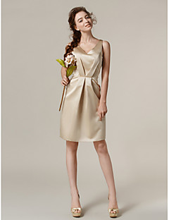 Lanting Bride® Knee-length Satin Bridesmaid Dress Sheath / Column V-neck Plus Size / Petite with Pockets / Side Draping
