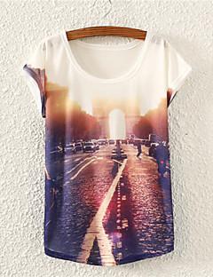 Kortærmet Rund hals Medium Kvinders Flerfarvet Blomstret Alle årstider Sødt I-byen-tøj T-shirt,Bomuld