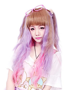 Lolita Wigs Punk Lolita Color Gradient Medium Purple / Brown Lolita Wig 50 CM Cosplay Wigs Patchwork Wig For Women
