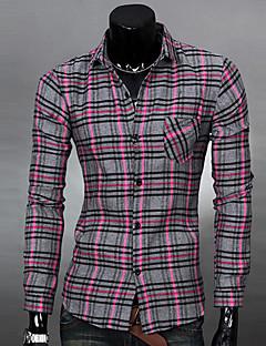 ZJ.SM Men's All-matched Check Long Sleeve Shirt