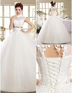 Ball Gown Wedding Dress Floor-length High Neck Lace