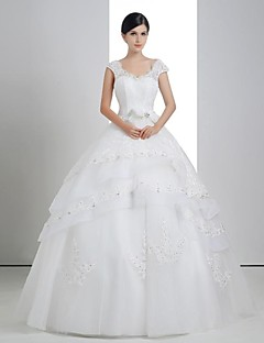 Ball Gown Wedding Dress - White Floor-length V-neck Lace/Organza