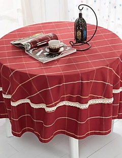 """plaid rouge table ronde tissu, polyester dia. (70 """"), 200cm (78"""")"""