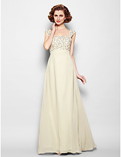 Lanting A-line Plus Sizes / Petite Mother of the Bride Dress - Champagne Floor-length Sleeveless Chiffon