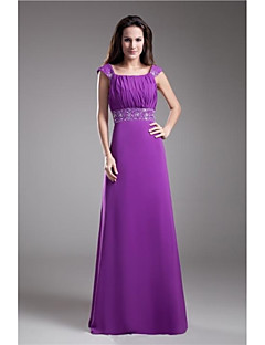 Formal Evening Dress - Grape Plus Sizes / Petite A-line Square Floor-length Chiffon