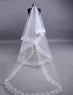 Wedding Veil Three-tier Fingertip Veils Lace Applique Edge 118.11 in (300cm) Tulle Lace