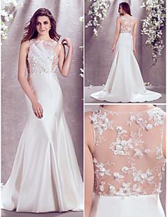 A-line Plus Sizes Wedding Dress - Ivory Sweep/Brush Train Bateau Satin/Lace