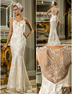 Trumpet/Mermaid Plus Sizes Wedding Dress - Ivory Floor-length Queen Anne Lace/Stretch Satin