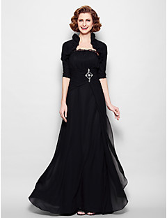 A-line Mother of the Bride Dress - Black Floor-length Half Sleeve Chiffon