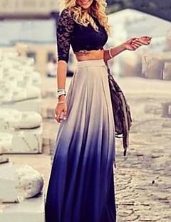 Women's Color Block Multi-color Skirts,Boho Maxi