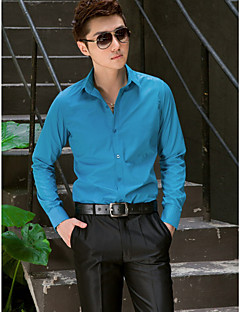 Shirts Classic (Semi-Spread) Long Sleeve Cotton/Polyester Solid Blue