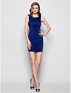 Sheath/Column Plus Sizes / Petite Mother of the Bride Dress - Dark Navy Short/Mini Sleeveless Jersey