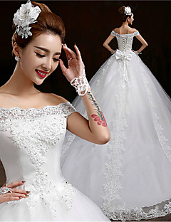 Ball Gown Chapel Train Wedding Dress -Off-the-shoulder Tulle