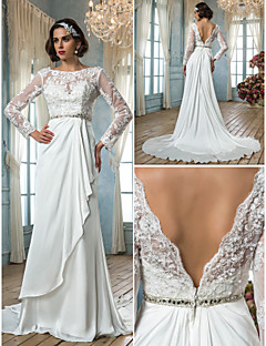 Sheath/Column Plus Sizes Wedding Dress - Ivory Sweep/Brush Train Jewel Satin Chiffon