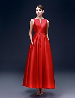 Formal Evening Dress A-line Bateau Ankle-length Satin with Pockets