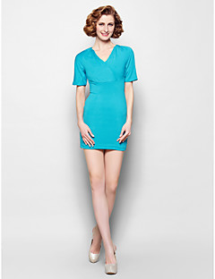 Sheath/Column Mother of the Bride Dress - Jade Short/Mini Short Sleeve Jersey
