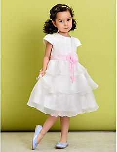 A-line Knee-length Flower Girl Dress - Polyester Short Sleeve