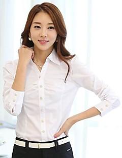 Vrouwen Eenvoudig Lente Overhemd,Nette schoenen Effen Overhemdkraag Lange mouw Blauw / Roze / Wit Polyester Medium