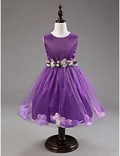 Flower Girl Dress Knee-length Cotton/Tulle A-line Sleeveless Dress with Roses