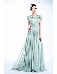 A-line Jewel Court Train Velet Chiffon Evening Dress