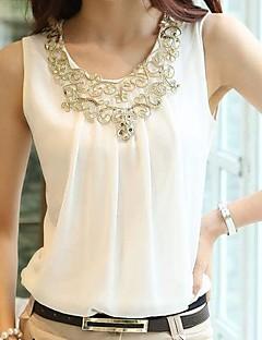 Mulheres Blusa Casual Simples / Moda de Rua Verão,Sólido Branco / Preto Decote Redondo Sem Manga Média