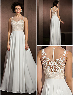 Lanting A-line Wedding Dress - Multi-color Floor-length Jewel Lace/Satin Chiffon