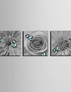 e-Home® sträckt arbetsytan konst blommor och fjärilar dekoration målning uppsättning av 3