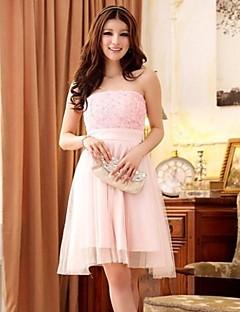 Robe de Demoiselle d'Honneur - Rose Bonbon A-line/Princesse Sans bretelles Longueur genou Dentelle/Polyester