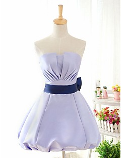 Knee-length Stretch Satin Bridesmaid Dress Ball Gown Strapless