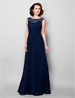 A-line Plus Size / Petite Mother of the Bride Dress Floor-length Sleeveless Chiffon withBeading / Crystal Detailing / Criss Cross /