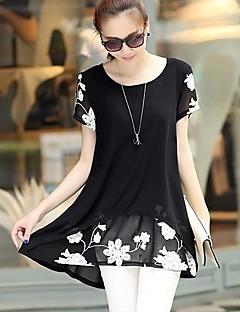 여성 프린트 U 넥 짧은 소매 블라우스,심플 스트리트 쉬크 캐쥬얼/데일리 플러스 사이즈 여름 얇음