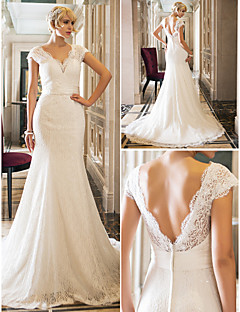 Trumpet/Mermaid Wedding Dress - Ivory Court Train Queen Anne Lace/Stretch Satin