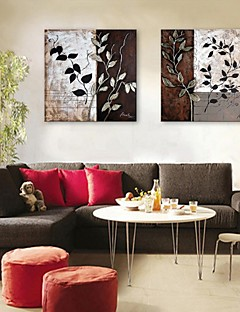 E-HOME® Stretched Canvas Art Leaf Pattern Decorative Painting Set of 2