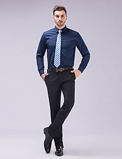 Классический - Рубашка (Черный/Розовый/Белый/Темно-красный/Небесно-голубой/Тёмно-синий , Хлопок/Полиэфир) Однотонный - Длинные