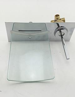 現代風 / 近代の 壁式 滝状吐水タイプ with  セラミックバルブ シングルハンドルつの穴 for  クロム , バスルームのシンクの蛇口