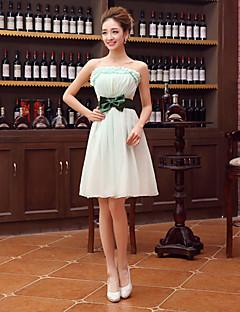 Robe de Demoiselle d'Honneur - Vert de Trèfle Fourreau Sans bretelles Longueur mi cuisse Velet en mousseline de soie