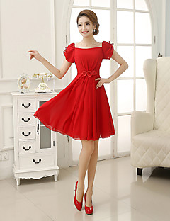 Short / Mini Chiffon Bridesmaid Dress Sheath / Column Square with Appliques / Pleats