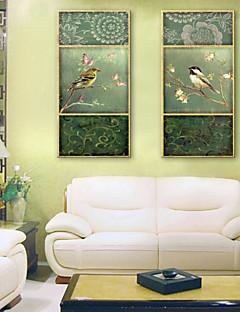 e-FOYER toile tendue art des fleurs et des oiseaux peinture décoration ensemble de deux