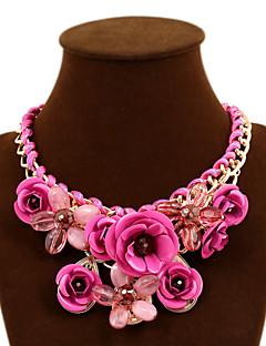 Femme Colliers Déclaration Forme de Fleur Rose Gemme Alliage Fête / Célébration Européen Bijoux Fantaisie Tressé bijoux de fantaisie